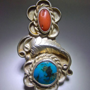 Old Pawn Turquoise Coral Large Sterling Ring, Navajo Handcrafted, OOAK, Vintage Sz 6.5 - 7