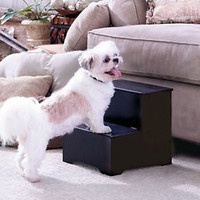 Black Wooden Pet Dog/Cat Steps W/Storage For Toys Treats Access To Sofa & Bed