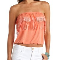 Crocheted Fringe Flounce Tube Top by Charlotte Russe - Fusion Coral