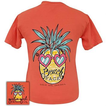 Girlie Girl Originals Preppy Beach Face Bright Salmon T-Shirt