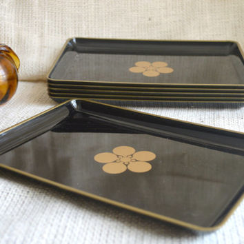 Black and Gold snack tray // vintage party trays- set of 6 // appetizer trays