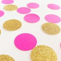 "100 Neon Pink / Gold Glitter - 1 Inch Circle Confetti - 1"" - Confetti for weddings, birthdays, parties and more!"
