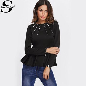 Sheinside Pearl Beading Peplum OL Style Blouse 2017 Black Round Neck Long Sleeve Ruffle Plain Top Women Elegant Blouse