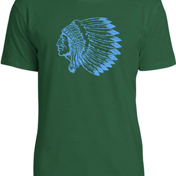 Indian Chief (Blue) Mens Fine Jersey T-Shirt