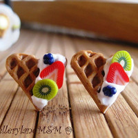Fruity Waffle - Sterling Silver Studs Earrings - Miniature Food