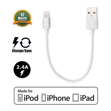 Short 7.5in Apple Certified Lightning to USB 2.0 Data Sync and Charge Cable (White/Silver)