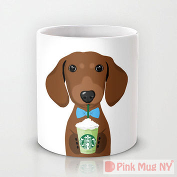 Personalized mug cup designed PinkMugNY - I love Starbucks - Dachshund - Brown