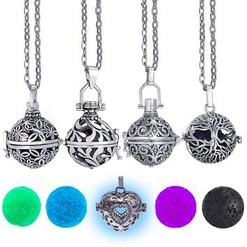 Aromatherapy Vintage Diffuser Necklace Locket for Essential Oil (FREE Lava stone & 7 Felt Balls)