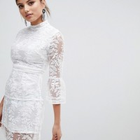 Boohoo Embroidered Mesh Tiered Skirt Dress at asos.com