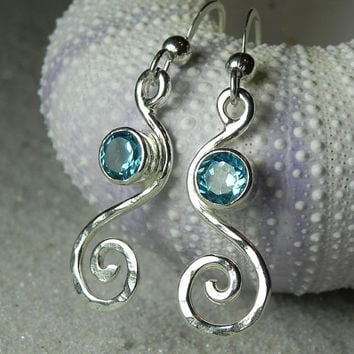 Blue Topaz Earrings  Swirl Spiral Earrings  by FantaSeaJewelry