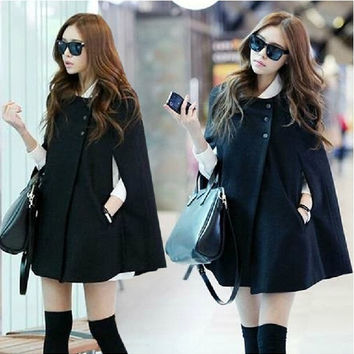 Vogue Korean Women Ladies Batwing Wool Oversized Casual Poncho Winter Coat Jacket Loose Cloak Cape Outwear Black Big Size = 1946818564
