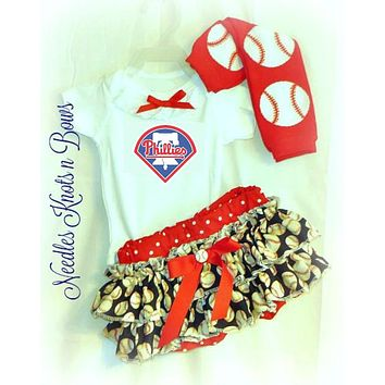 Philadelphia Phillies Girls Baseball Outfit, Baby Girls Coming Home Outfit, Phillies Game Day Outfit