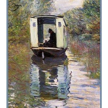 The Boat Studio inspired by Claude Monet's impressionist painting Counted Cross Stitch or Counted Needlepoint Pattern