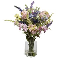 SheilaShrubs.com: Lavender and Hydrangea Silk Flower Arrangement 4760 by Nearly Natural : Artificial Flowers & Plants