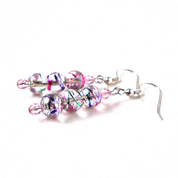 Dangly colorful swirly round bead earrings - sparkly pink, clear, blue, green and purple glass beads earrings - by Sparkle City Jewelry