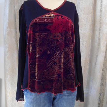 Size XL Womens Velvet and Sheer Black Bell Sleeves Blouse Hippie Boho Grunge Soft Grunge Shirt  Red, black and brown paisley Plus Size Shirt