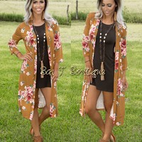 Long Floral Lust Cardigan ~ Mustard