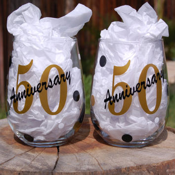 Set of 2 50th Anniversary Personalized Stemless Wine Glass Perfect for Gifts Golden Anniversary Anniversary Parties Anniversary Gift