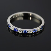 Platinum 950 Diamond and Blue Sapphire Half Eternity Ring, Platinum 2mm Wedding Band