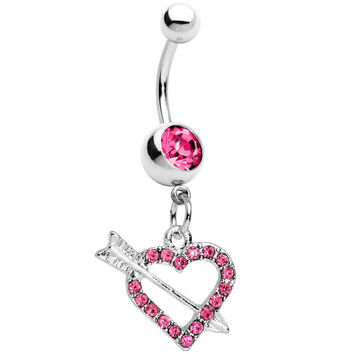 Pink Paved Impaled Heart Dangle Belly Ring