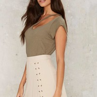 Double Cross Me Lace-Up Skirt
