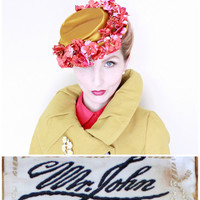 1950s Hat / VINTAGE / MR. JOHN / Designer Hat / PillBox / 50s Hat / Gold Satin / Fuchsia Blossoms