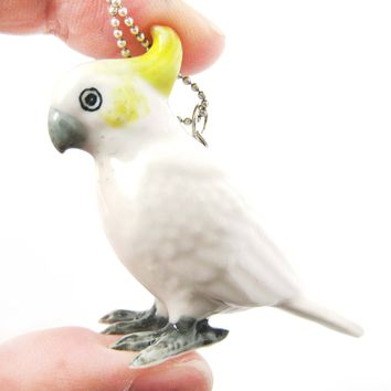Cockatoo Parrot Bird Porcelain Ceramic Animal Pendant Necklace | Handmade