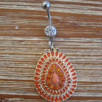 Belly Button Ring - Body Jewelry - Orange Tear Drop Charm with Clear Gem Belly Button Ring