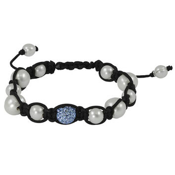 "7.5"" Adjustable 10mm Blue Crystal Freshwater Pearl ""Shamballa"" Bracelet"