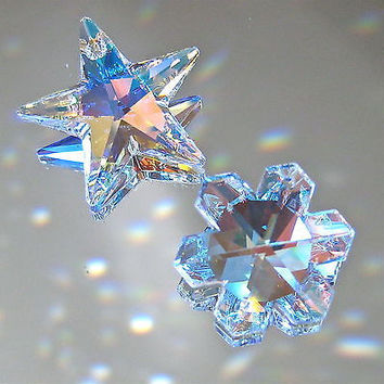 Swarovski Crystal Set of  AB star 28mm, AB snowflake 25mm Prism Ornaments Logo