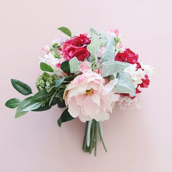 Silk Hydrangea and Peony Bouquet in Pink