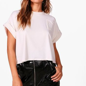 Meggan Basic Pocket Crop Top | Boohoo