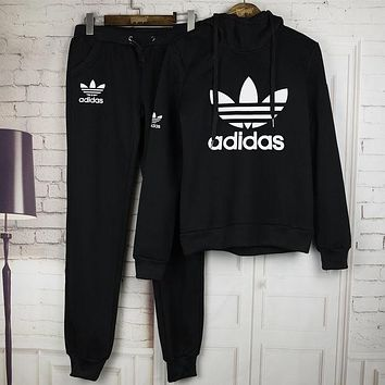 Adidas Women Print Hoodie Top Sweater Pants Trousers Set Two-piece Sportswear