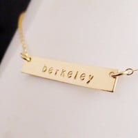 Gold Bar Necklace, Personalized Name Initials, Kardashian Handstamped Gold Minimalist, Bridesmaid Gift, Minimal Gold Filled, Graduation