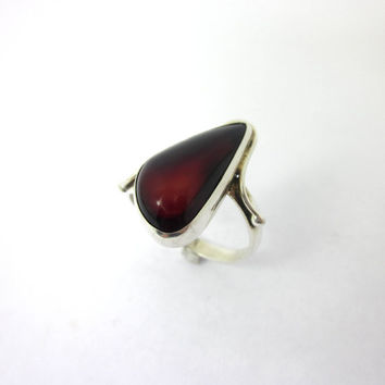 Women's Amber Ring, Red Amber Ring, Silver Amber Jewelry, Size 8