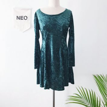 Crushed Velvet Forest Skater Dress