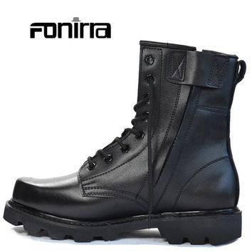 Men Cool Style Genuine Leather Low-heel Ankle Boots Solid Square Toe Black Army Boots Outdoor Breathable Men Shoes 248