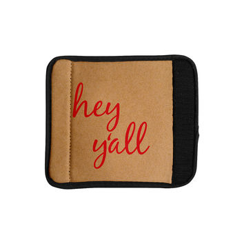 "KESS Original ""Hey Y'all - Red"" Brown Red Luggage Handle Wrap"