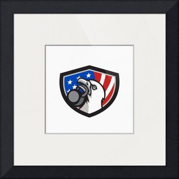 """Bald Eagle Lifting Kettleball USA Flag Shield Retr"" by Aloysius Patrimonio"
