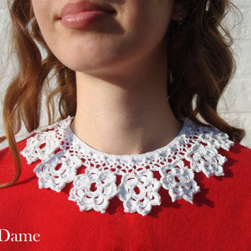 Crochet collar, White knitted detachable lace collar, Neck accessory, Gift for her, Christmas gift, Free Shipping
