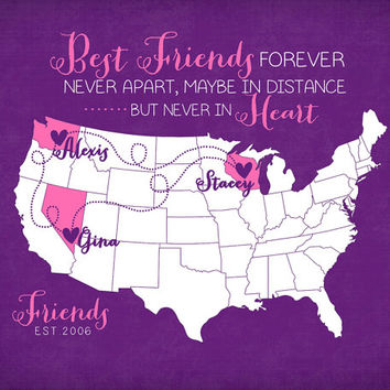Best Friends Birthday Gift Long Distance Friendship Quote Map 8x10 Custom Map Art Print Moving Away Gift, Christmas Present Wall Art Print