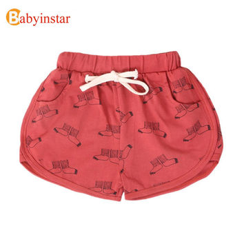 2016 New Fashion Children Shorts Baby Girls Clothes Unisex Pattern Print Tops  Elastic Waist Trousers Cotton Kids Shorts
