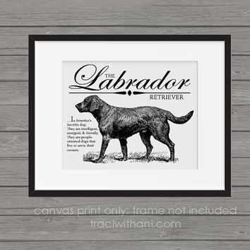 Labrador Retriever Storybook Style Canvas Print: Dog, Wall Art, Rustic, Vintage, Antique, Decor, Artwork, DIY, Breed, Gift, Lab, Hunting