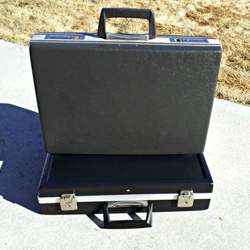 Vintage Mad Men Dark Gray Trojan Briefcase - Hard Sided Attache Case - Shabby Chic Clamshell Executive Briefcase for Display or Adventures