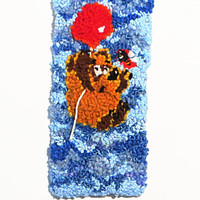 """Hand Hooked Wool Tapestry Wall Hanging, Wool Hooked Rug, Rug Hooking, Children's gift, Baby gift, """"Vinny Poox and the Bee"""""""