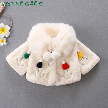 WYNNE GADIS Winter Baby Kids Cartoon Smiling Face Faux Fur Cape Jacket Princess Party Fleece Outerwear Girls Coat casaco