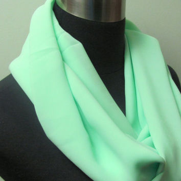 Bright Seafoam Lime Mint Infinity Scarf