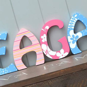 Personalized Wooden Wall Letters for Nurseries and Kids Rooms - Girly Flower Floral Theme with Stripes and Hawaiian Habiscus