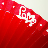 Love. Hand fan. Hand painted. Special gift. Red color.