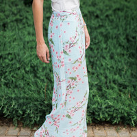Pink Cherry Blossom Palazzo Pants: Light Blue